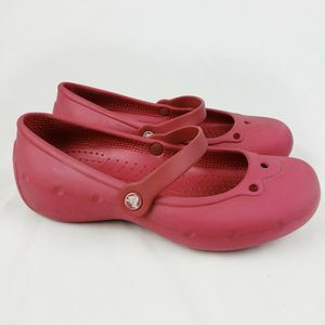Crocs Mary Jane Slip On Shoes Size 3 Youth Red